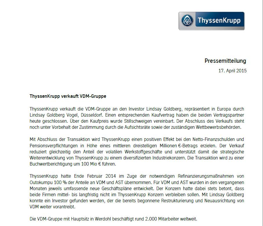 Pressemitteilung ThyssenKrupp