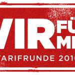 """Logo """"Wir für mehr - Tarifrunde 2016"""""""