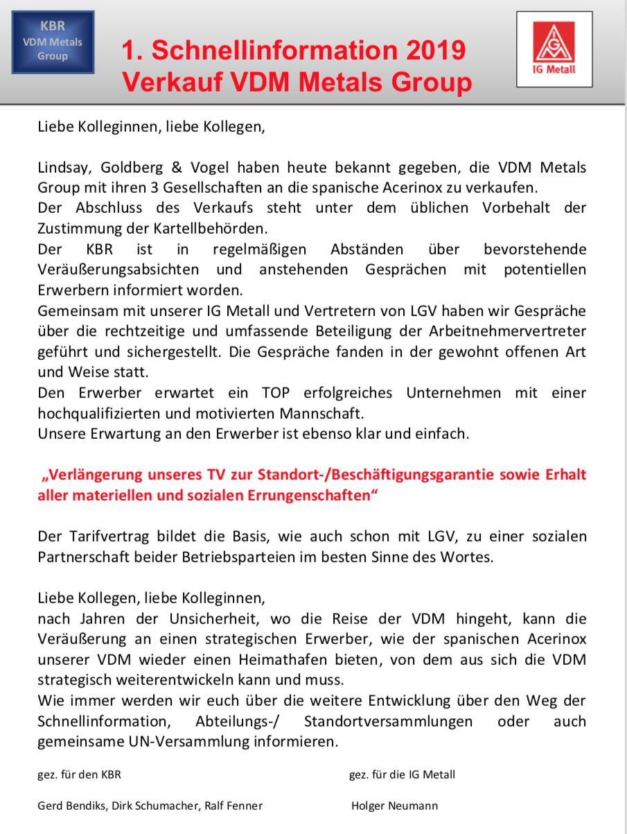 Schnellinformation VDM 2019